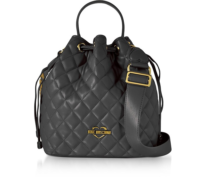 f4cb4fb197de Love Moschino Black Quilted Eco Leather Bucket Bag at FORZIERI UK