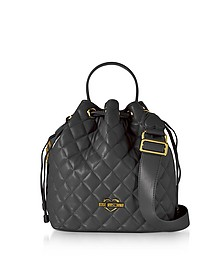 Black Quilted Eco Leather Bucket Bag - Love Moschino