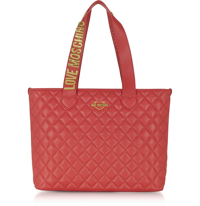 Fashion Red Quilted Eco-Leather Tote Bag  - Love Moschino