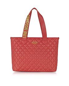 Fashion - Cabas en Éco Cuir Matelassé Rouge - Love Moschino
