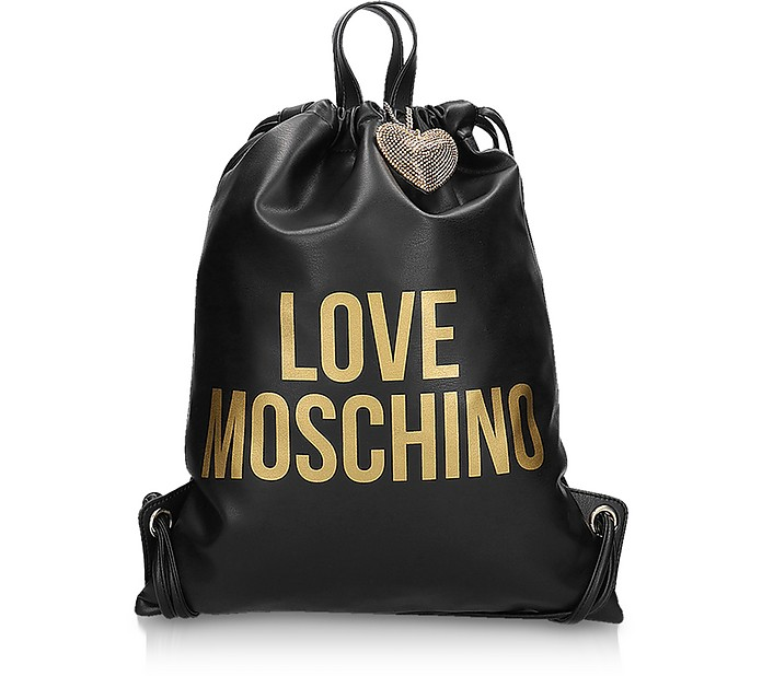 Golden Signature Printed Eco Leather Gym Bag - Love Moschino
