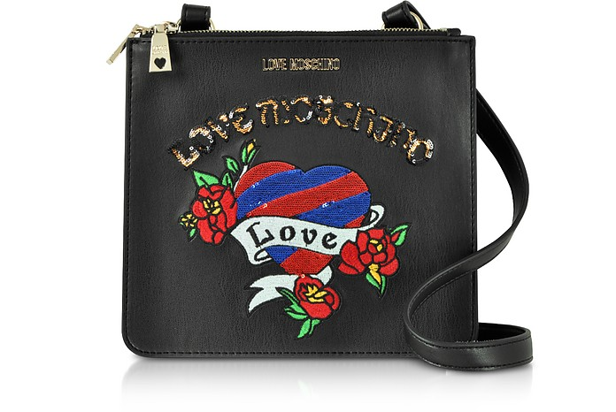 Black Love Embroidered Shoulder Bag - Love Moschino