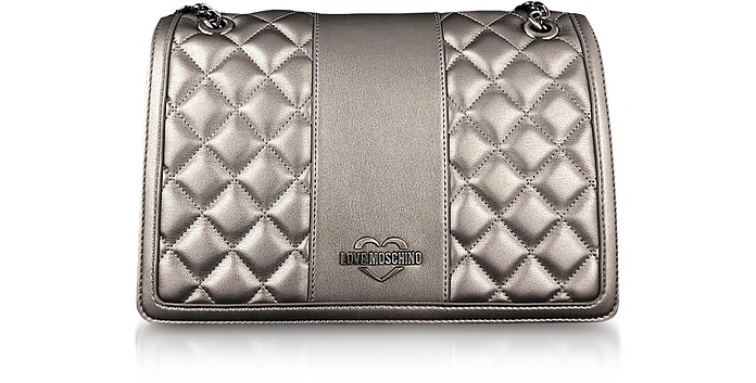 Gunmetal Quilted Eco leather Shoulder Bag - Love Moschino