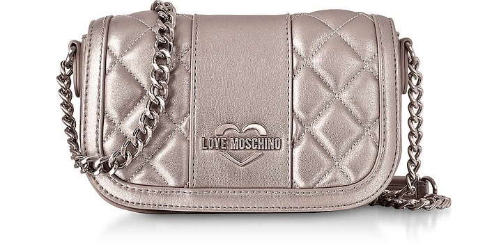 Metallic Quilted Eco Leather Mini Shoulder Bag - Love Moschino