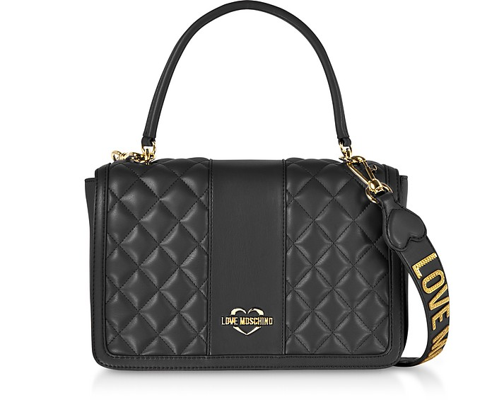 Quilted Eco Leather Top Handle Bag - Love Moschino