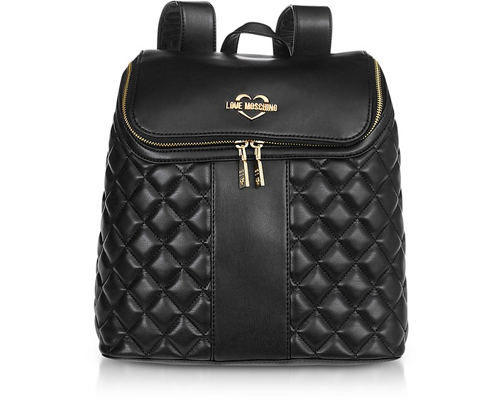 Black Quilted Eco Leather Backpack - Love Moschino