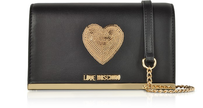 Sequin Heart Eco Leather Clutch w/Chain Strap - Love Moschino