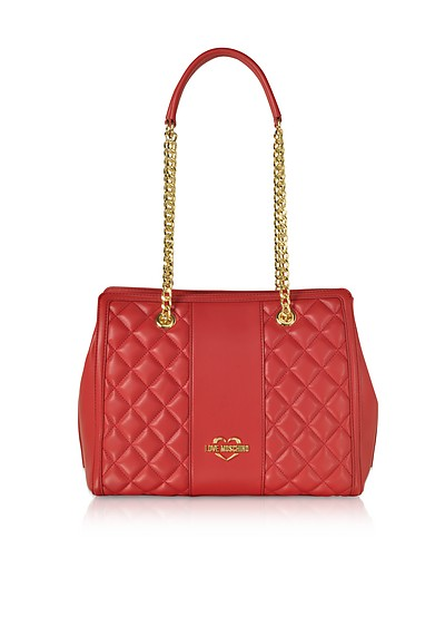 Quilted Eco Leather Shoulder Bag - Love Moschino