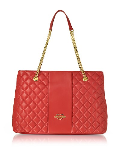 Quilted Eco Leather Tote Bag - Love Moschino