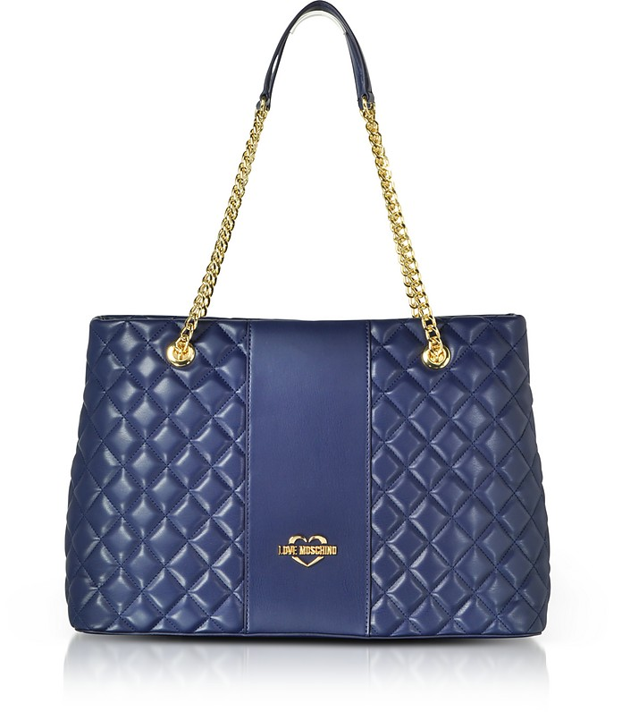 488d16e589 Love Moschino Blue Quilted Eco Leather Tote Bag at FORZIERI Canada