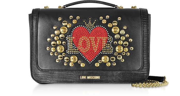 Black Eco-leather Shoulder Bag w/ Heart Crystals - Love Moschino