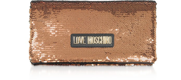 Rose Gold Sequins Clutch w/ Chain Straps - Love Moschino