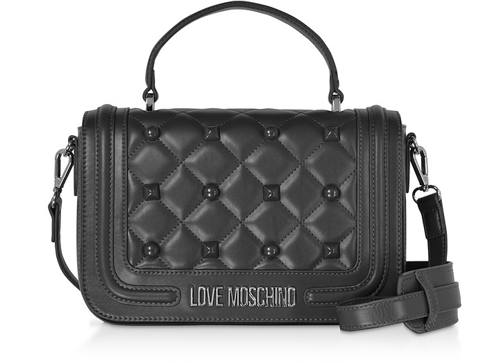 Love Moschino Borsa Satchel in Eco Pelle nera con Borchie - Love Moschino