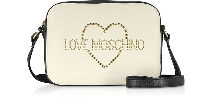 Small Leather Crossbody bag w/ Golden Studs - Love Moschino