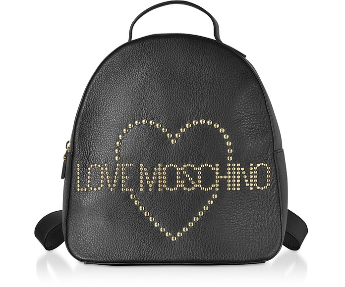 Black Leather Backpack w/ Golden Studs - Love Moschino