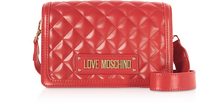 Quilted Eco-leather Signature Crossbody Bag - Love Moschino