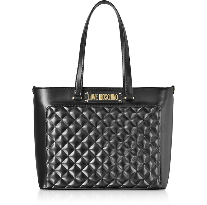 Black Quilted Eco-Leather Tote Bag - Love Moschino