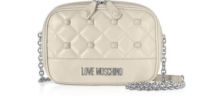 Quilted Eco-leather Crossbody Bag w/ Studs - Love Moschino