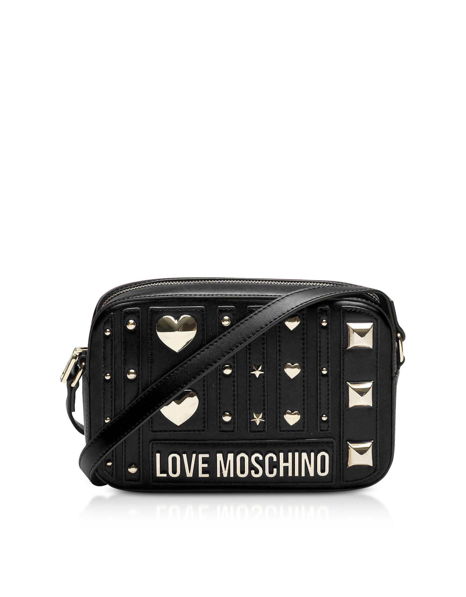 Love Moschino BLACK HEART STUDS ECO-LEATHER CAMERA BAG