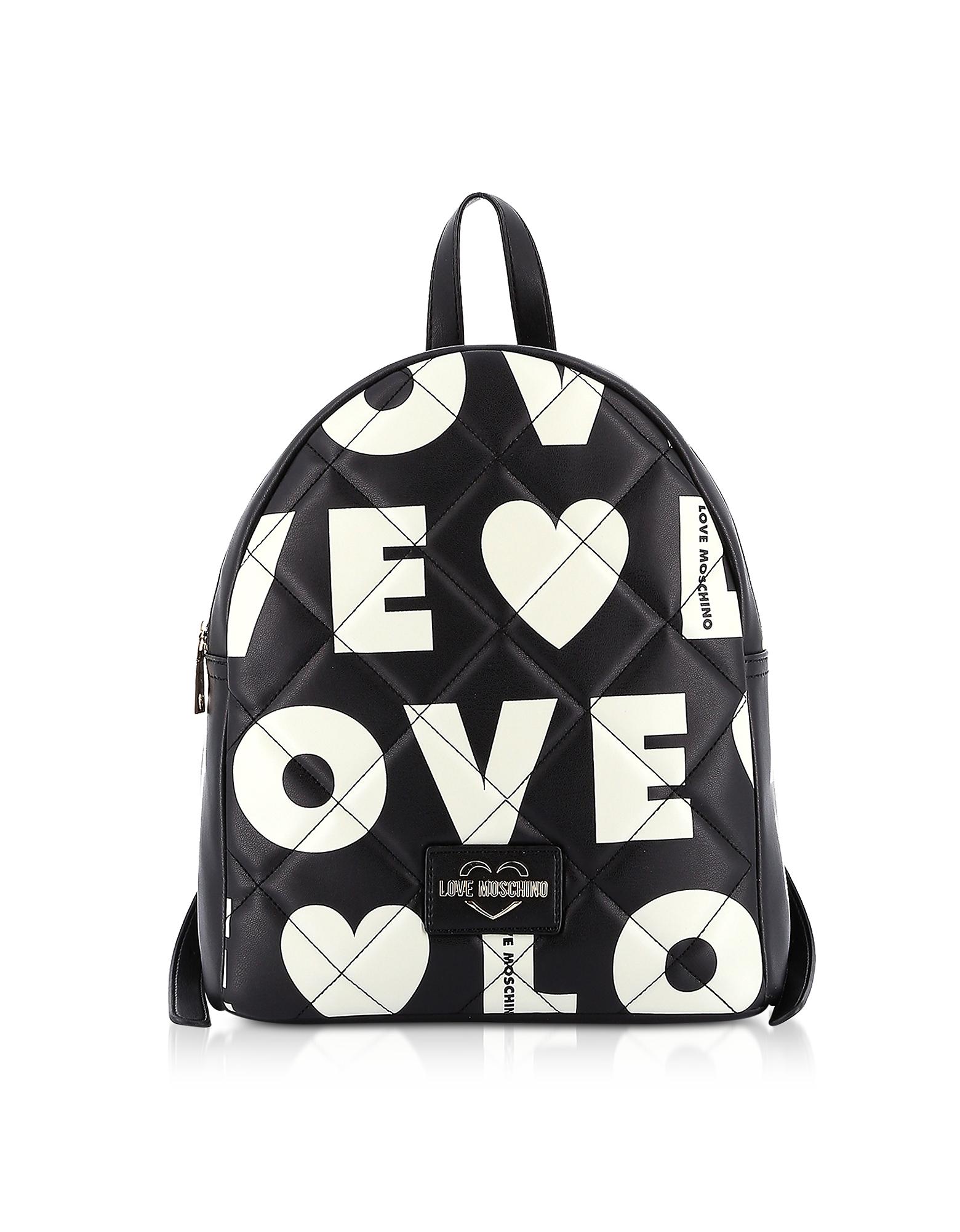Love Moschino MATT BLACK & WHITE ECO-LEATHER SIGNATURE BACKPACK