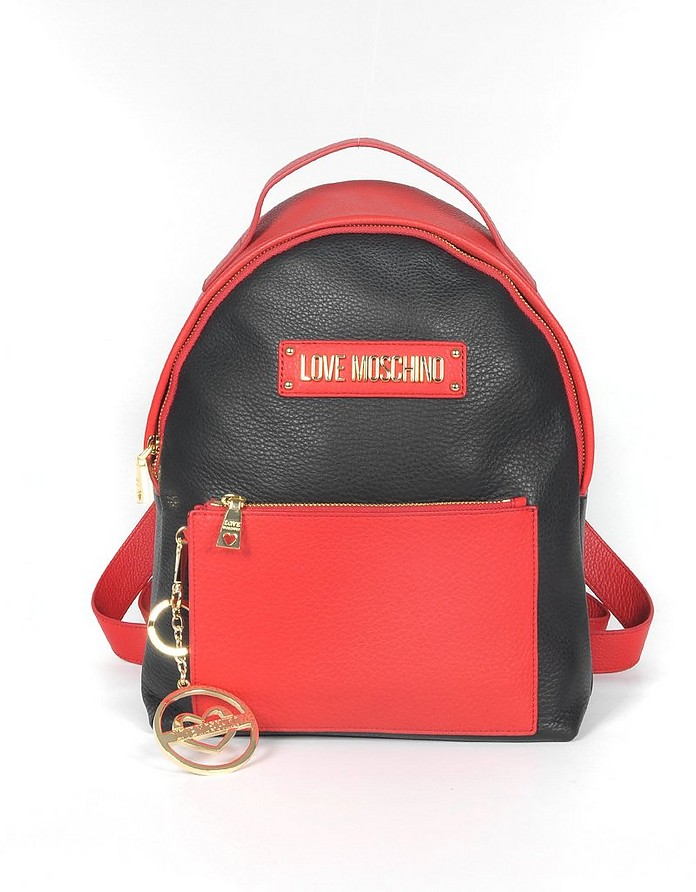 Black & Red Grainy Leather Signature Backpack - Love Moschino