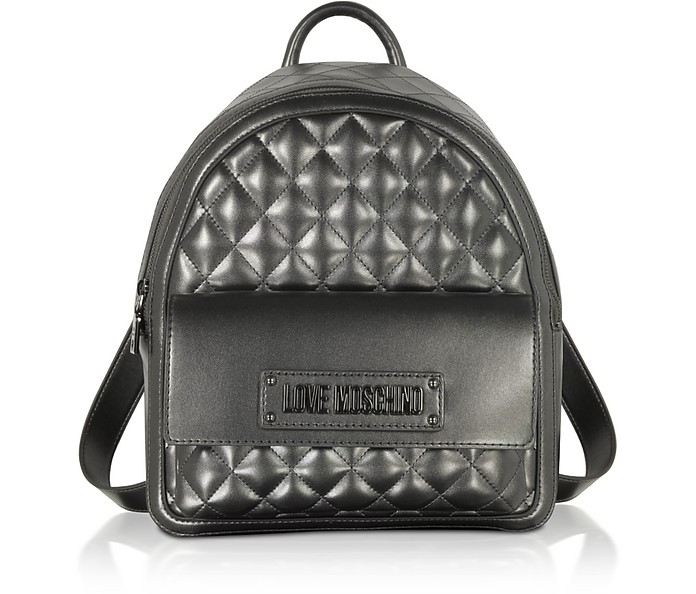 Quilted Eco-Leather Signature Backpack - Love Moschino