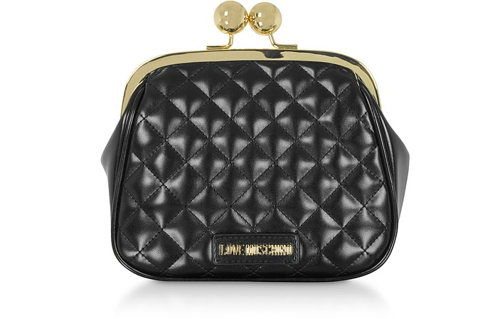 Quilted Eco-leather Clutch w/Chain - Love Moschino
