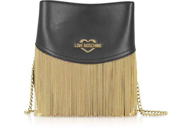 Black Signature Metal Chain Bucket Bag - Love Moschino