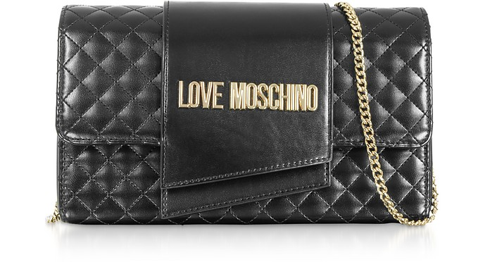 Quilted Eco-leather Clutch Bag - Love Moschino
