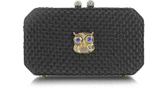 Black Woven Fabric Clutch with Owl - Moschino
