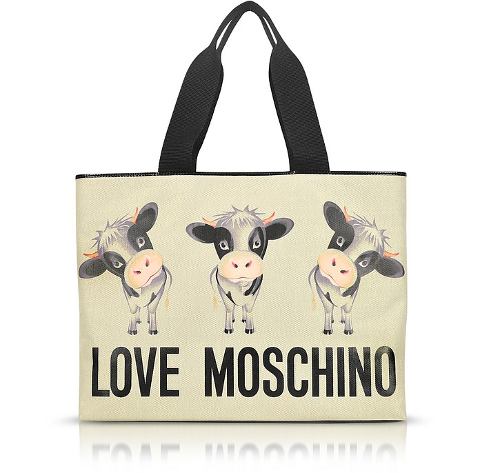 Cow - Large Canvas Tote - Moschino