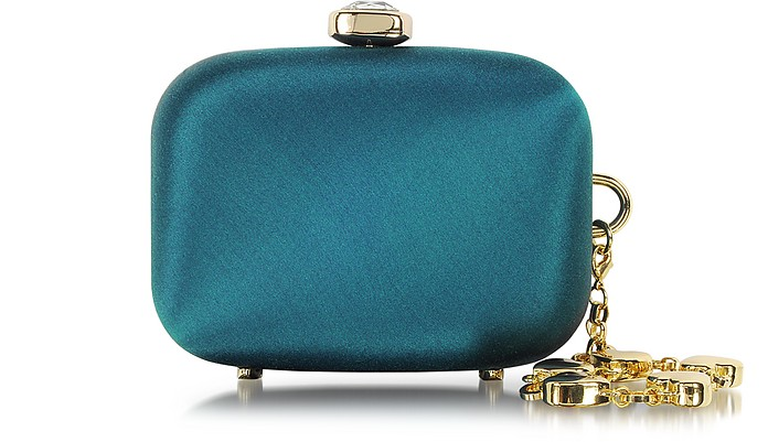 Mini Satin Clutch with Crystal - Moschino