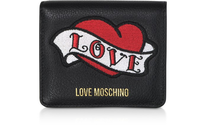 Black Genuine Leather Small  Women's Wallet w/Heart Patch - Love Moschino