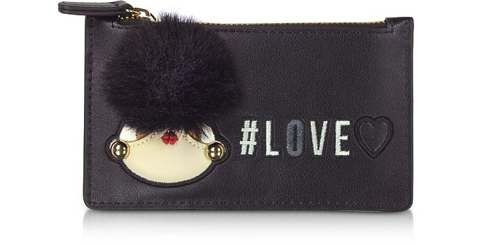 Black Eco Leather Credit Card Holder w/Zip - Love Moschino