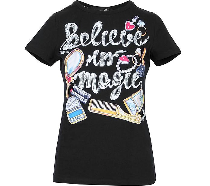 Believe in Magic Black Cotton Women's T-Shirt - Love Moschino