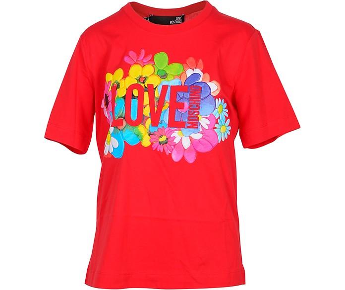 Flower Print Red Cotton Women's T-Shirt - Love Moschino