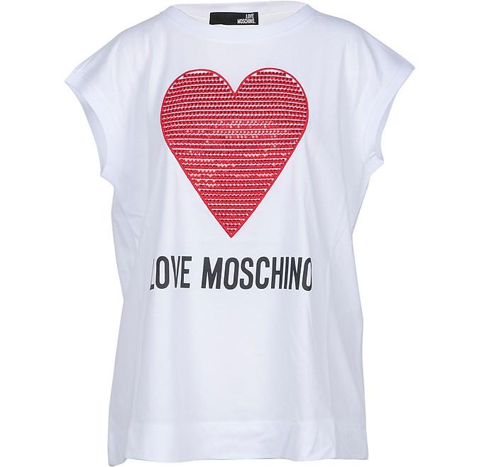 White Cotton Women's T-Shirt w/Crystals Heart - Love Moschino