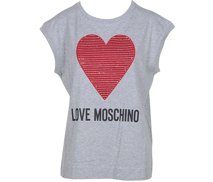 Melange Gray Cotton Women's T-Shirt w/Crystals Heart - Love Moschino
