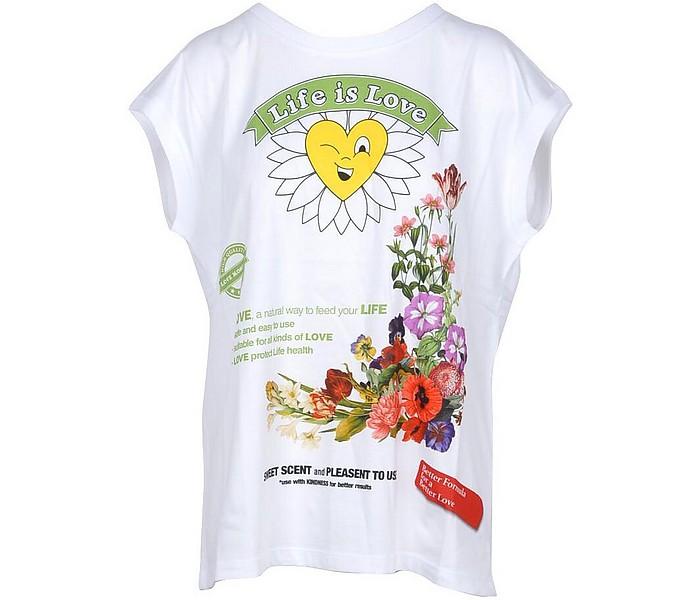 Life is Love White Cotton Women's T-Shirt - Love Moschino
