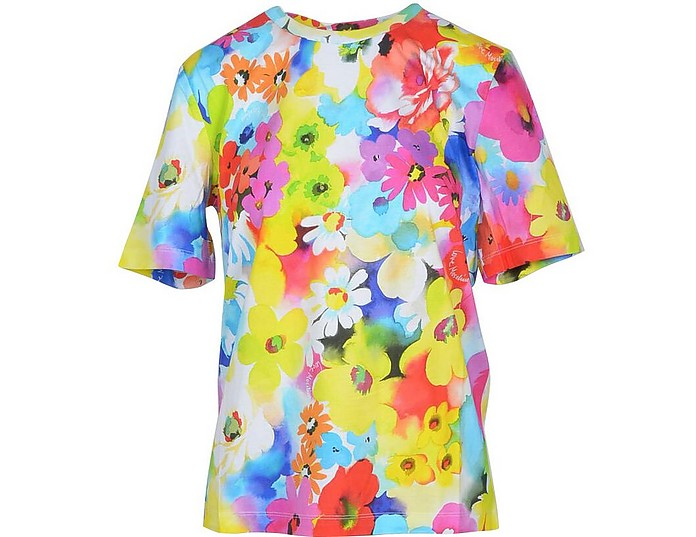 Floral Printed Cotton Women's T-Shirt - Love Moschino