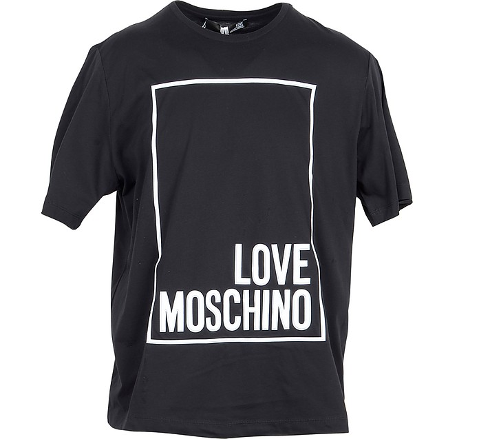 Black & White Signature Cotton Women's T-Shirt - Love Moschino