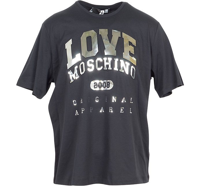 Black & Gold Signature Cotton Women's T-Shirt - Love Moschino