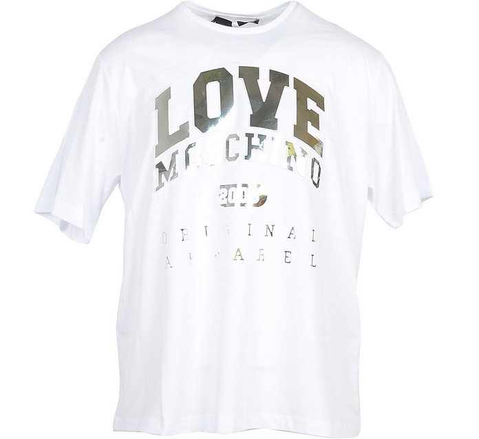 White & Gold Signature Cotton Women's T-Shirt - Love Moschino