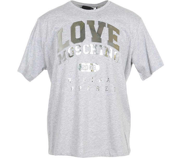 Melange Gray & Gold Signature Cotton Women's T-Shirt - Love Moschino