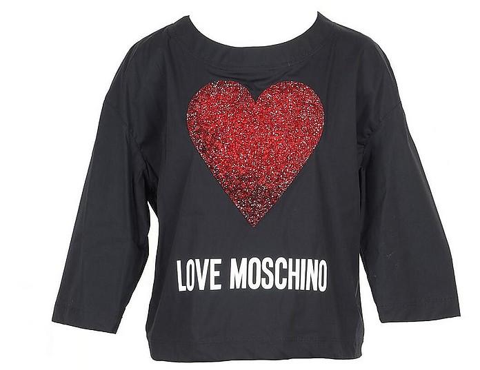 Black Cotton Women's Long Sleeve T-Shirt w/Crystals Heart - Love Moschino