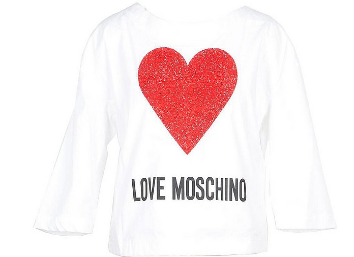 White Cotton Women's Long Sleeve T-Shirt w/Crystals Heart - Love Moschino