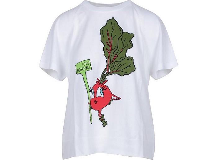 Embroidery White Cotton Women's T-Shirt - Love Moschino