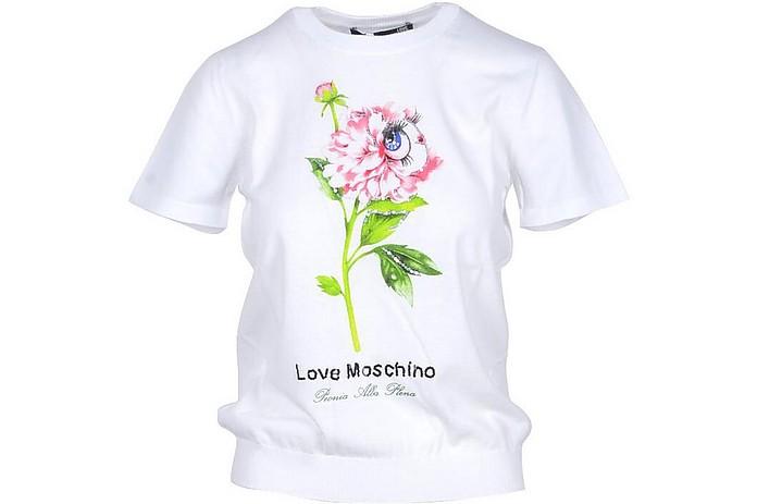 White Cotton Women's T-shirt - Love Moschino
