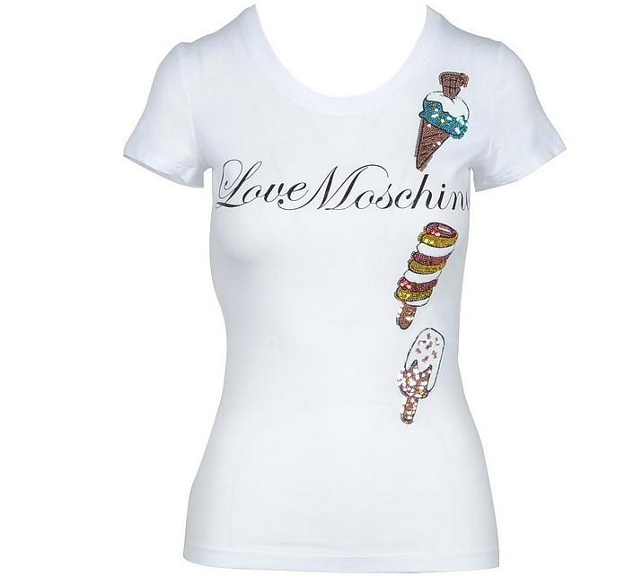 Women's White Tshirt - Love Moschino