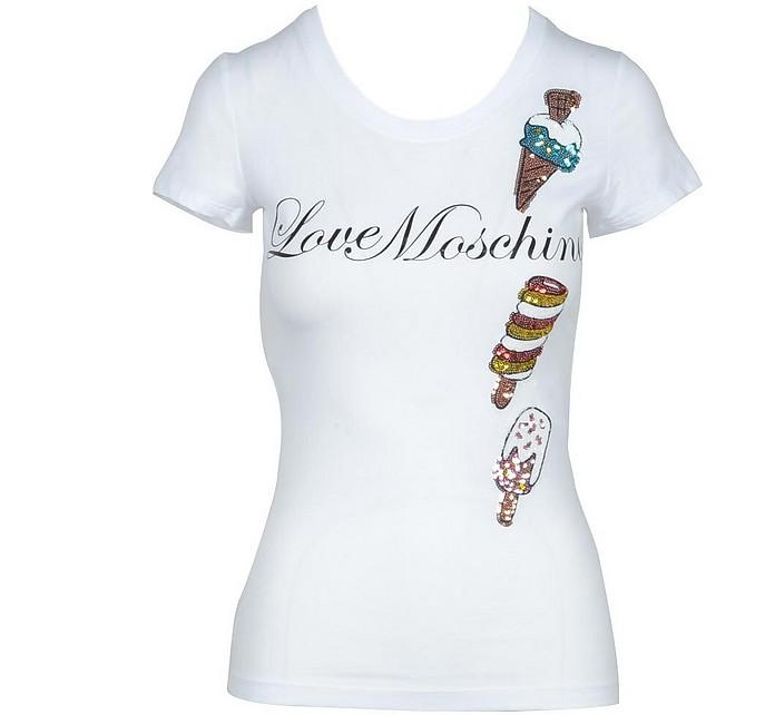 Women's White Tshirt - Love Moschino / ラブ モスキーノ